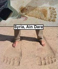 Giant Footprints found around the World, Syria Aliens And Ufos, Ancient Aliens, Ancient History, Out Of Place Artifacts, Nephilim Giants, Giant Skeleton, Genesis 6, Strange Places, Mystery Of History
