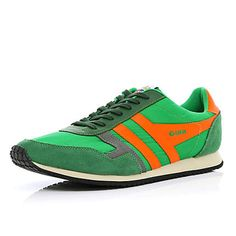 Green and orange Gola retro trainers - plimsolls / trainers - shoes / boots - men