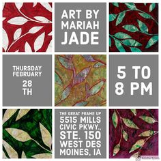 My first show of 2019 is right around the corner! . Grab a friend and join me at @thegreatframeup_wdm in @west_glentc Thursday night to see my latest work. . Thanks for supporting local! 😁 . #DSMUSA #art #catchDSM #whyiwestglen #artwork #paintings #artonpaper #eucalyptus #artevent #femcity #eucalyptus #leaves #plantsinfocus #branches #livewithart #mariahjade #artistreception #dsm #trees #treelove #leaf #DesMoines #thegreatframeup #artshow #mariahjadeart #openhouse #515 #eucalyptusleaves… West Des Moines, Artwork Paintings, Eucalyptus Leaves, Thursday Night, Make Art, Love People, Jade, Branches, Iowa