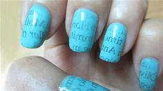 Are you tired of the time consuming nail art? In this tutorial, you'll learn how to make newspaper nails using water, which gives new meaning to having the latest information at your fingertips!