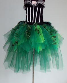 Poison Ivy Katy Perry inspired Burlesque Tutu Skirt and Corset with Silk Ivy…