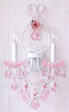 Fairy-tale Wall Sconce with Pink Crystal & Porcelain