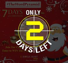 Wake up, guys. Still, you have a chance to win exciting prizes. 😍🤩 👉Only 2 Days left. 👍Participate now! In #TheWordPyramid Contest. 💙Visit our pages on Facebook, Instagram, and Twitter now!(To participate-click on pic)#contestalert #Contest #IndiaContest #ContestIndia #contests #takeachance #bbloger #instagramcontest #instagramcontests  #InstaContest #contestagram #contestalertindia #onlinecontest #wordgame #wordgames #contestinindia #ChristmasWeek #friends #family #win #emegamartindia