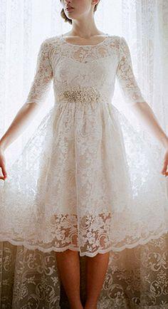 Gorgeous Tea Length Wedding Dresses ❤ See more: http://www.weddingforward.com/tea-length-wedding-dresses/ #weddings
