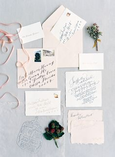 Blush calligraphy invitation suite: http://www.stylemepretty.com/2016/01/27/al-fresco-garden-wedding-in-montecito/ | Photography: Jose Villa - http://josevilla.com/