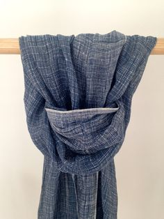 19 Andrea's 47 Cashmere Blue Striped Scarf Made from Linen and Silk it is soft to touch and has delicately loose edging. A light, flowing scarf for spring and summer. Soft Furnishings, Cashmere, Touch, Silk, Spring, Summer, Blue, Accessories, Collection