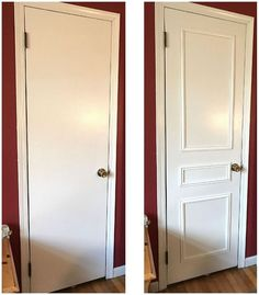 to be inspired to change your boring doors!Get ready to be inspired to change your boring doors!ready to be inspired to change your boring doors!Get ready to be inspired to change your boring doors! Painting Wood Paneling, Door Makeover, Old Doors, Home And Deco, Panel Doors, Cheap Home Decor, Home Renovation, Home Projects, Home Improvement