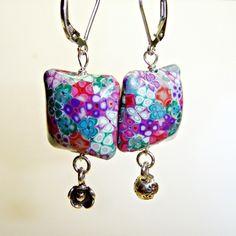 Summer Flower Polymer Clay Silver Earrings £12.00