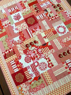 Delightful red and white quilt from Red Pepper Quilts, of course!