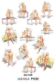 Tutorial Drawing Manga pose. Big posebook for manga anime character : Couple poses - Sitting