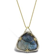 Diamonds in the sky with the #VenyxWorld Theiya collection Obscura #pendant in #yellowgold with #diamonds and #labradorite. See more at www.thejewelleryeditor.com