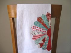 Flour Sack Tea Towel with Dresden Plate by ByTheBookPaper on Etsy, $10.00