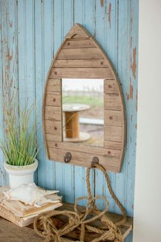 Boat frame mirror.