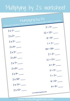 FREE Printable Multiplication Worksheet (multiplying by 2's) :: Download this FREE printable multiplication worksheet!
