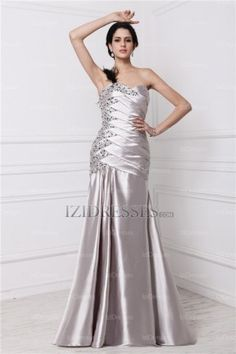 A-Line Sheath/Column One Shoulder Sweetheart Satin Evening Dresses - IZIDRESS.com what's with the feather shoulder?