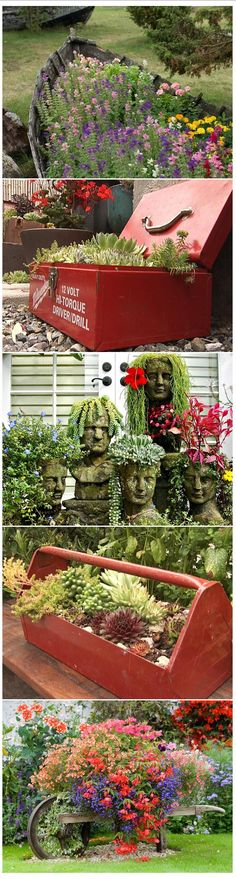 i♥Garden | ..upcycle 'Container Garden' ideas - old boat, tool boxes, facial pots, old wheelbarrow (love it)