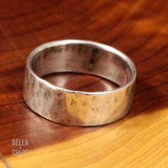 Sterling Silver - DAVID SIGAL 6mm Hammered Band 4.7g - Ring (9) Mens SA1351 in Rings | eBay