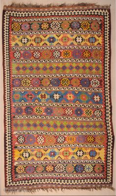 Late Century Qashqai Kilim Size 175 x 305 cm It has great colors Tile Patterns, Textures Patterns, Rugs On Carpet, Carpets, Kilims, Kilim Rugs, 19th Century, Bohemian Rug, Mosaic