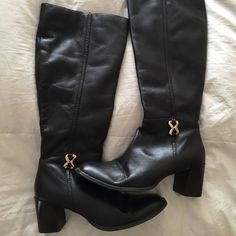 Chocolate Brown Dressy Boots All Leather Dark Brown Boots! Beautiful Soft Leather with Gold Tone ornament. Karen Scott Shoes Winter & Rain Boots