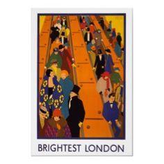 Brightest London England ~ Vintage UK Travel Poster