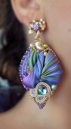 Silk Leaf Earrings | Soutache, Bead-Embroidery, Shibori Silk | Serena Di Mercione