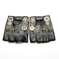Open Gloves in Synthetic Leather Steampunk Gothic - Gants ouvert en Cuir synthétique Steampunk Gothique