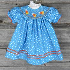 Candy Corn Smocked Bishop Bright Blue Polka Dot - by Southern Sunshine Kids
