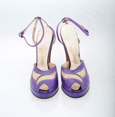 Vintage Shoes 40s Purple Leather Platform by littlethingsvintage, $165.00