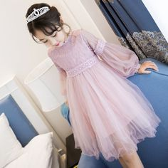 Cheap princess princess, Buy Quality children children directly from China long sleeve princess dress Suppliers: 2017 New Dresses For Girls Cute Lace Solid Long Lantern Sleeve Children Dress O-Neck Ball Grown Party Princess Baby Kids Clothes