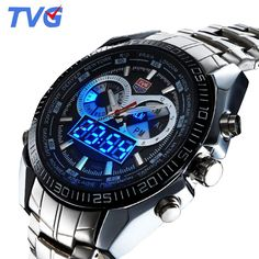 be26c30abfd Swiss Post Tvg Military Led Watch Men Stainless Steel Band Digital Pointer  Wristwatch 30AM Waterproof Watches