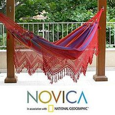 @Overstock - The sizzling hues of Brazil's 'forro' dance bring the vibrant colors of the Northeast to this handsome hammock. Woven of cotton by Brazil's Hammock Artisans of Ceará, it is bordered with lavish fringed lace, crocheted by hand.http://www.overstock.com/Worldstock-Fair-Trade/Cotton-Forro-Dance-Hammock-Brazil/6341591/product.html?CID=214117 $182.99