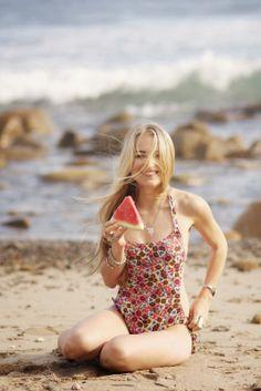 Mermaid Sara Libby Wearing Bossa Beach Swimsuit In Wild Flowers Print California