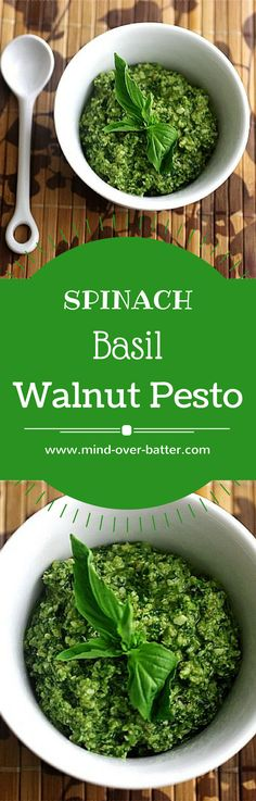 Spinach Basil Walnut Pesto -- www.mind-over-batter…