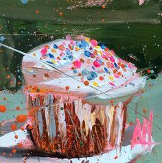 Funfetti Cupcake Original Painting by Angela Moulton