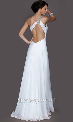 White Floor Length One Shoulder Dress- backless