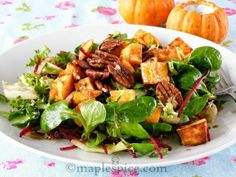 maple•spice: Baby Spinach Salad with Sage Roasted Sweet Potato, Walnuts and Almond Feta