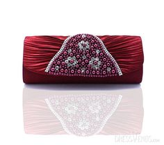 US$44.99 Graceful Claret-red Shell Stain with Crystal Pearl HandbagsHandbagsOccasionClutchesClutches. #Clutch #Crystal #Pearl #with