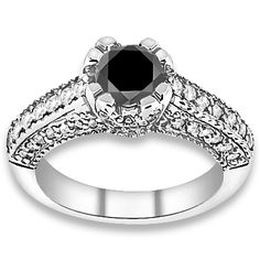 4.04 ctw 14k WG AA Black, Accent G-H Color, I1 Clarity Diamonds Engagement Ring