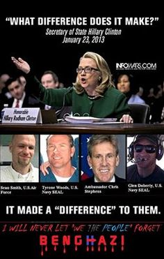 NEVER FORGET WHAT HILLARY DIANE RODHAM CLINTON DID. THANK YOU HILLARY FOR KILLING OUR AMERICAN PATRIOTS...  http://dumphillatyclinton.org