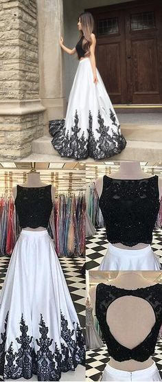 2018 two piece long prom dress, black and white prom dress, backless prom dress