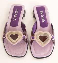 Prada Heart Slides in Lavender/Pink Monochrome