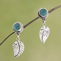 Turquoise dangle earrings, 'Taxco Nature' - Artisan Crafted Turquoise and Sterling Silver Earrings