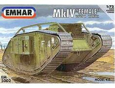 The Emhar 1/72 Mk.IV Female WWI Tank plastic tank model accurately recreates the real life British heavy tank used During the Great War.  This plastic tank kit requires paint and glue to complete.