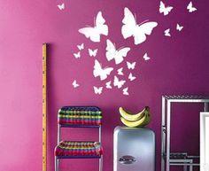 Butterfly Wall Murals Art Ideas Paint My Room, Girls Room Paint, Room Paint Colors, Wall Colors, Girl Room, Wall Painting Decor, Mural Wall Art, Wall Art Decor, Wall Stencil Designs