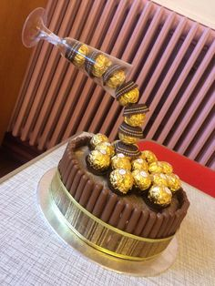 Ferraro Rocher anti gravity champagne flute chocolate fudge birthday cake #Ganache #Amateur #love #Christmas