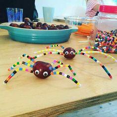 Leuke spin: Dit is natuurlijk wel erg leuk om te maken van een kastanje! Maak met een satéprikker of spijkertje gaatjes in de kastanje en steek daar pijperagers in. Lijm ze vast en laat het kind nu strijkkralen rijgen aan de pijperagers aan het einde moet u hem even omvouwen. Buig nu de pootjes. Zo ontstaat met een gezichtje van beweeg oogjes een hele leuke spin!