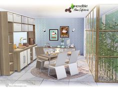 Home Cafeteria by SIMcredible! Sims 4 Jobs, Sims Cc, Sims 4 Cc Furniture, Custom Furniture, Dining Room Sets, Dining Room Table, Around The Sims 4, Sims 4 Kitchen, Sims 4 Game Mods