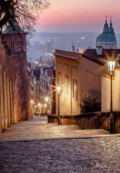 Old Castle stairs to Lesser Town of Prague, Czechia #evening #cityscape #Prague #Czechia