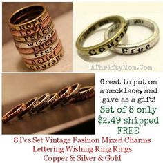 these rings are inexpensive and so pretty! word rings on sale and shipped free, makes a great valentines gift idea or even for a best friend.  Teens or tweens would love