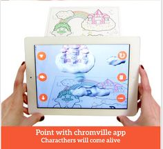 Chromville downloading the free app and then printing out the pages to color.  As a student colors one of the pages for the village they chose the characters come to life in 3D augmented reality via their mobile device.  This is a innovative way to integrate technology into the classroom and a lot of fun for the students.